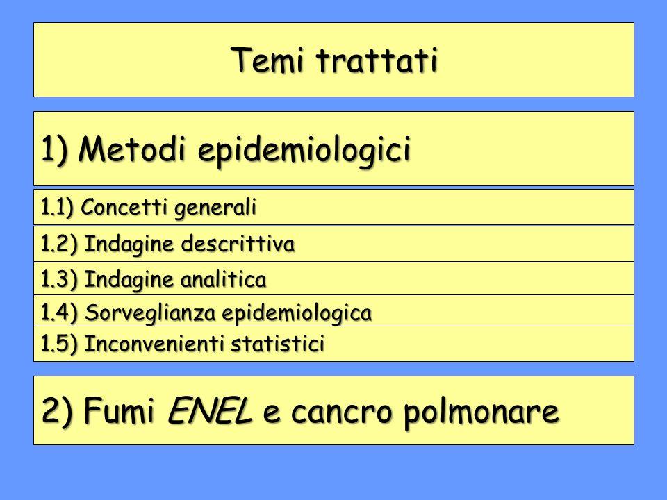 1) Metodi epidemiologici 2) Fumi ENEL e cancro polmonare Temi trattati 1.1) Concetti generali 1.2) Indagine descrittiva 1.3) Indagine analitica 1.4) S