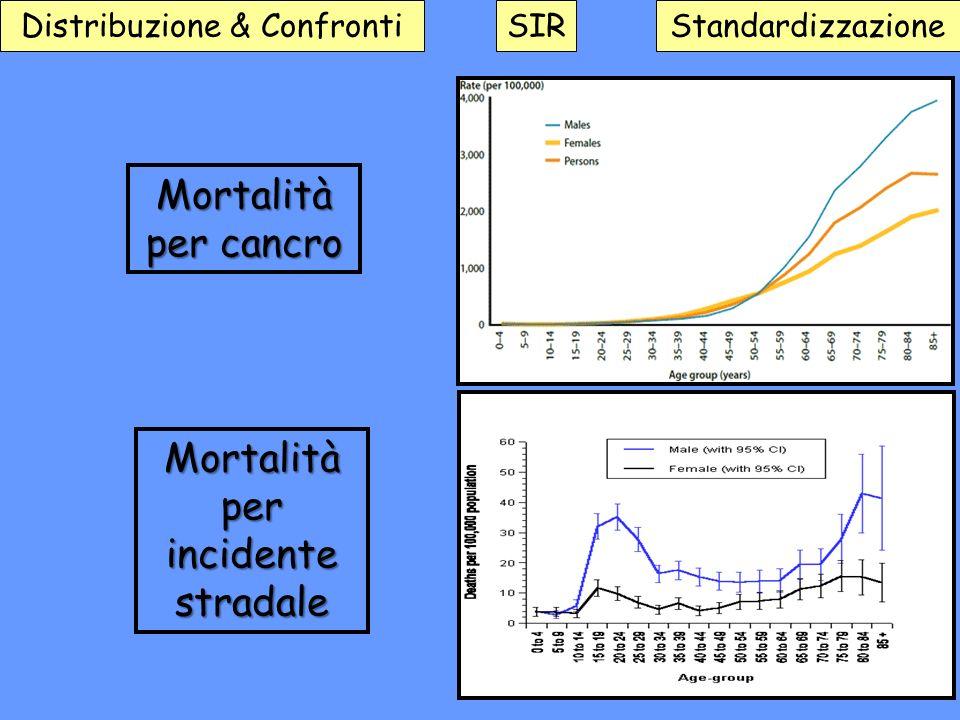 Distribuzione & ConfrontiSIRStandardizzazione Mortalità per cancro Mortalità per incidente stradale