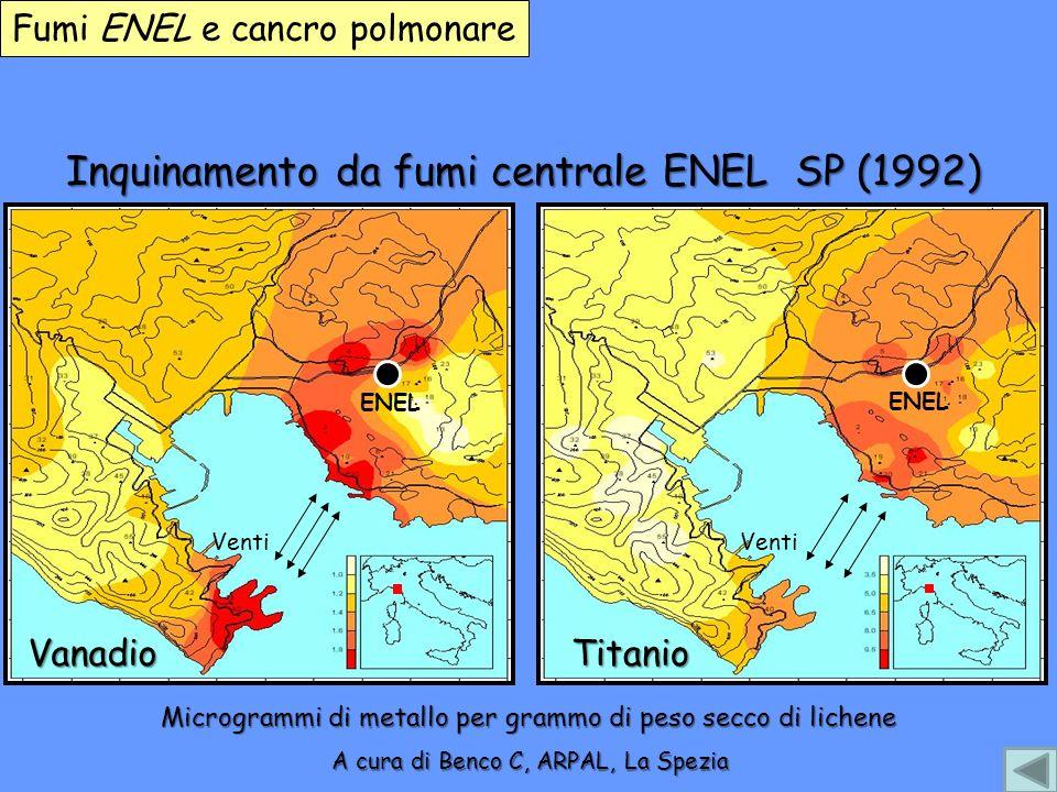 Inquinamento da fumi centrale ENEL SP (1992) Vanadio ENEL A cura di Benco C, ARPAL, La Spezia Titanio ENEL Venti Fumi ENEL e cancro polmonare Microgra
