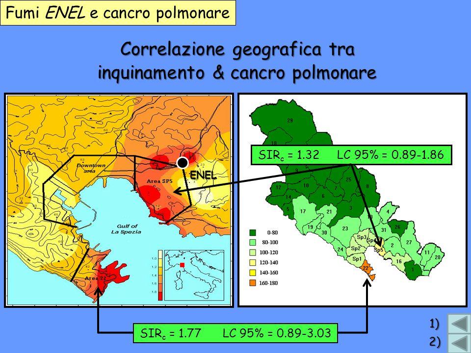 Correlazione geografica tra Fumi ENEL e cancro polmonare inquinamento & cancro polmonare ENEL SIR c = 1.77 LC 95% = 0.89-3.03 SIR c = 1.32 LC 95% = 0.