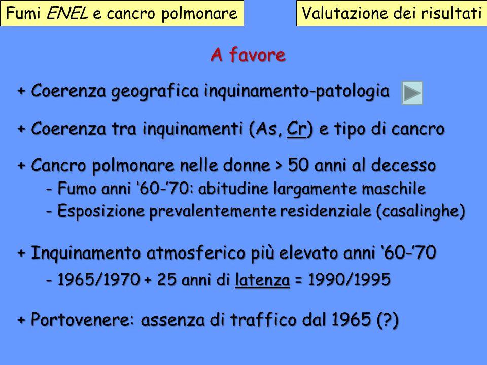 Fumi ENEL e cancro polmonareValutazione dei risultati A favore + Coerenza geografica inquinamento-patologia + Coerenza tra inquinamenti (As, Cr ) e ti
