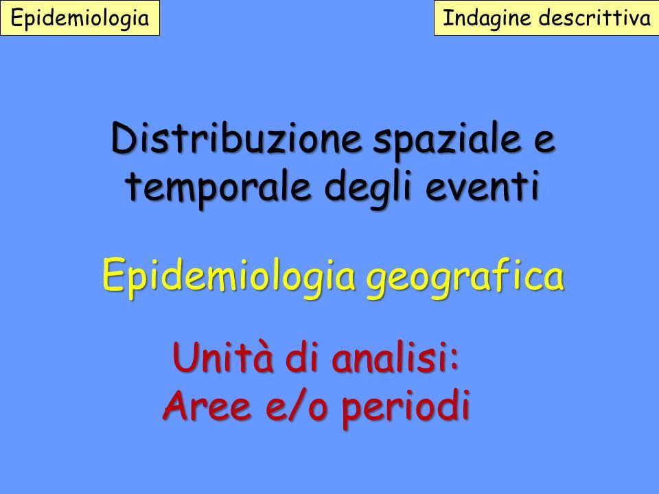 Distribuzione spaziale e temporale degli eventi Epidemiologia geografica Epidemiologia Indagine descrittiva Unità di analisi: Aree e/o periodi