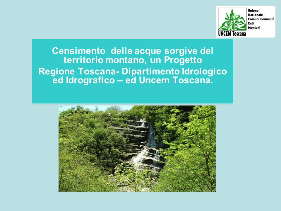 A differenza di quanto accade per altre fonti di approvvigionamento idrico, a riguardo delle sorgenti NON esisteva nella Regione Toscana ed in Italia nessun Data Base UNICO - anche solo cartografico – in cui siano raccolti tutti i dati utili a conoscere le caratteristiche di ogni sorgente