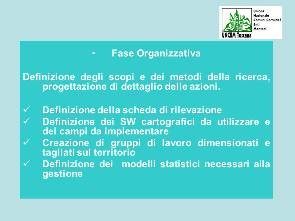 Fase Organizzativa Definizione degli scopi e dei metodi della ricerca, progettazione di dettaglio delle azioni.