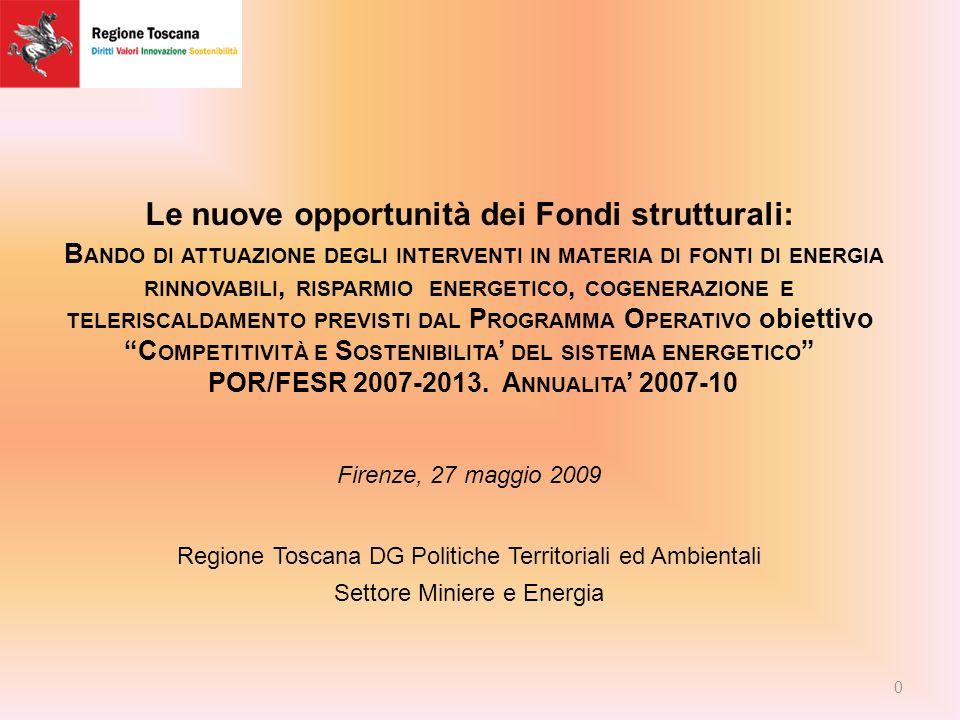 Le nuove opportunità dei Fondi strutturali: B ANDO DI ATTUAZIONE DEGLI INTERVENTI IN MATERIA DI FONTI DI ENERGIA RINNOVABILI, RISPARMIO ENERGETICO, COGENERAZIONE E TELERISCALDAMENTO PREVISTI DAL P ROGRAMMA O PERATIVO obiettivo C OMPETITIVITÀ E S OSTENIBILITA DEL SISTEMA ENERGETICO POR/FESR 2007-2013.