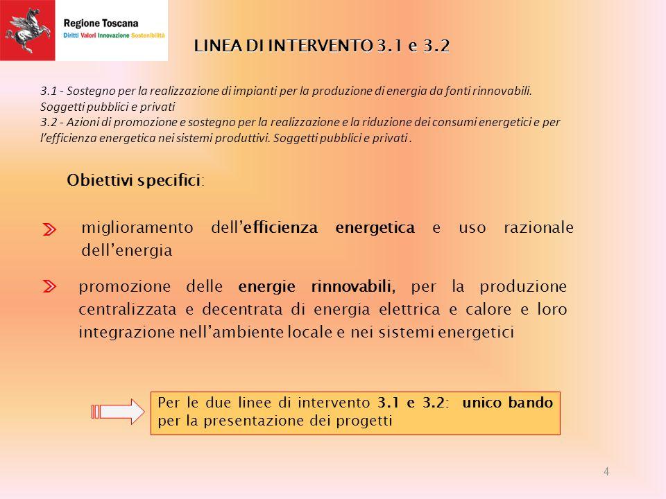 LINEA DI INTERVENTO 3.1 e 3.2 miglioramento dellefficienza energetica e uso razionale dellenergia promozione delle energie rinnovabili, per la produzione centralizzata e decentrata di energia elettrica e calore e loro integrazione nellambiente locale e nei sistemi energetici Obiettivi specifici: Per le due linee di intervento 3.1 e 3.2: unico bando per la presentazione dei progetti 4 3.1 - Sostegno per la realizzazione di impianti per la produzione di energia da fonti rinnovabili.