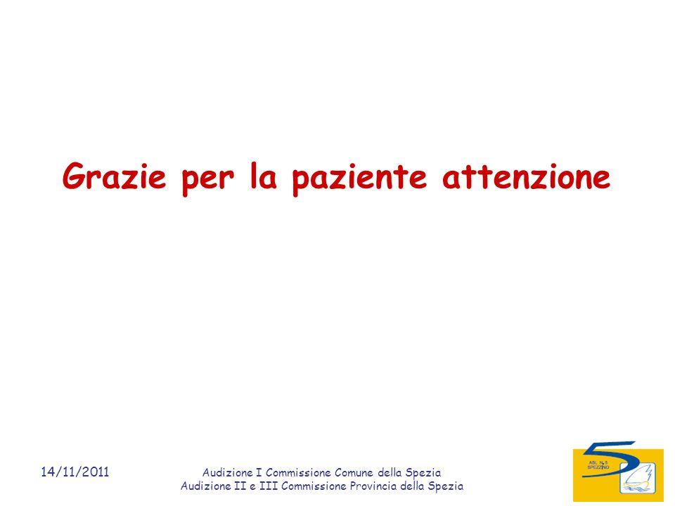 14/11/2011 Audizione I Commissione Comune della Spezia Audizione II e III Commissione Provincia della Spezia Grazie per la paziente attenzione