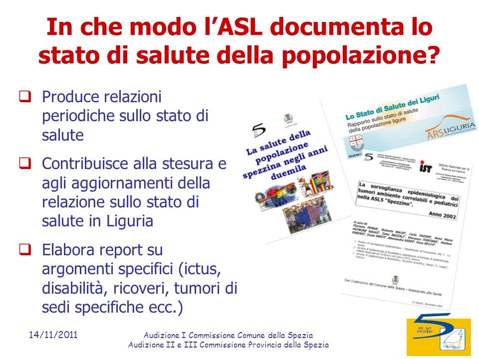 14/11/2011 Audizione I Commissione Comune della Spezia Audizione II e III Commissione Provincia della Spezia In che modo lASL documenta lo stato di salute della popolazione.