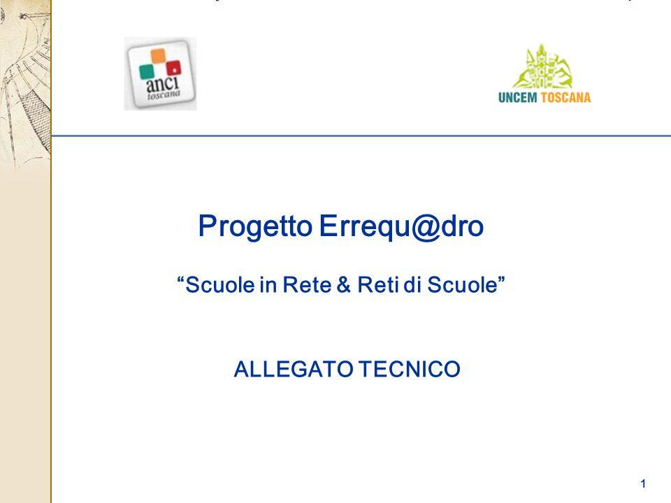 1 Scuole in Rete & Reti di Scuole Progetto Errequ@dro ALLEGATO TECNICO