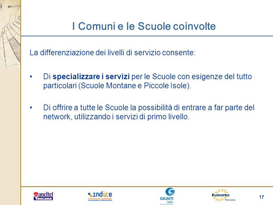 17 I Comuni e le Scuole coinvolte La differenziazione dei livelli di servizio consente: Di specializzare i servizi per le Scuole con esigenze del tutt
