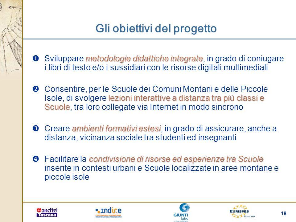 18 Gli obiettivi del progetto metodologie didattiche integrate Sviluppare metodologie didattiche integrate, in grado di coniugare i libri di testo e/o