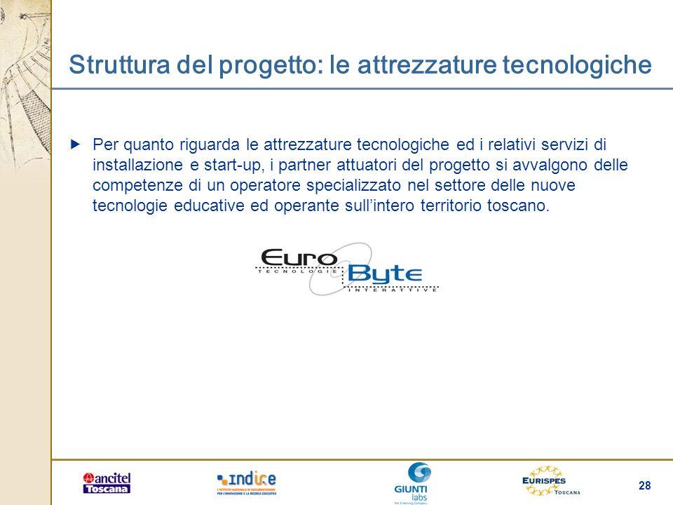 28 Struttura del progetto: le attrezzature tecnologiche Per quanto riguarda le attrezzature tecnologiche ed i relativi servizi di installazione e star