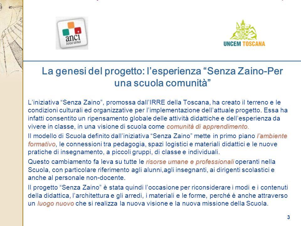 3 La genesi del progetto: lesperienza Senza Zaino-Per una scuola comunità comunità di apprendimento Liniziativa Senza Zaino, promossa dallIRRE della T