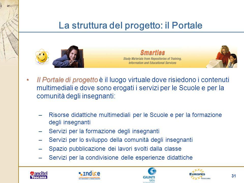 31 Il Portale di progettoIl Portale di progetto è il luogo virtuale dove risiedono i contenuti multimediali e dove sono erogati i servizi per le Scuol