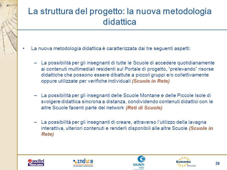 39 La struttura del progetto: la nuova metodologia didattica La nuova metodologia didattica è caratterizzata dai tre seguenti aspetti: (Scuole in Rete