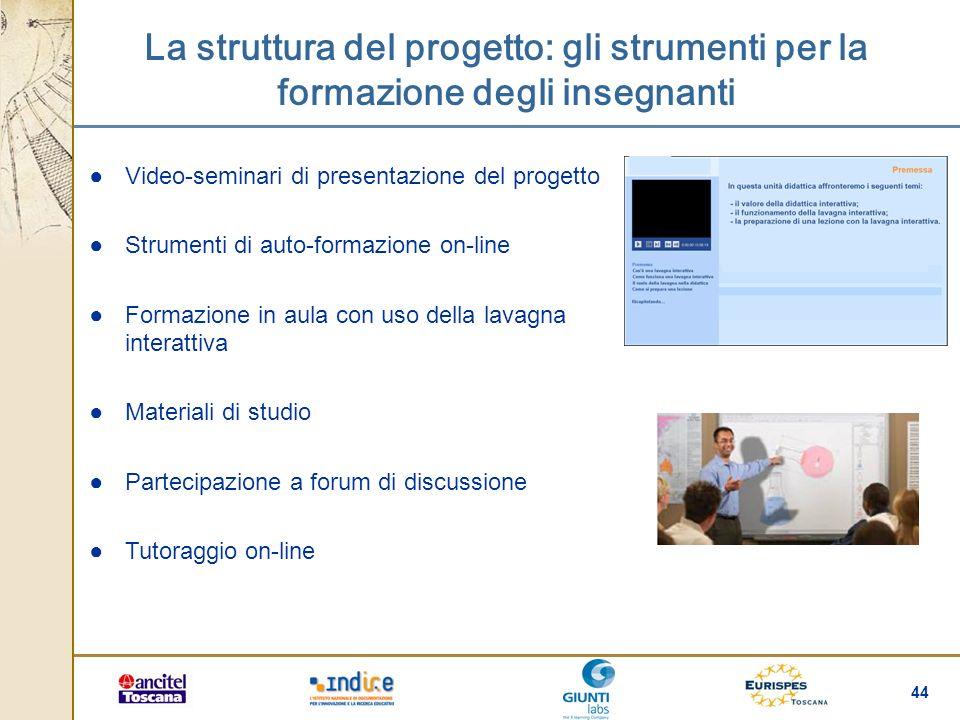 44 La struttura del progetto: gli strumenti per la formazione degli insegnanti Video-seminari di presentazione del progetto Strumenti di auto-formazio