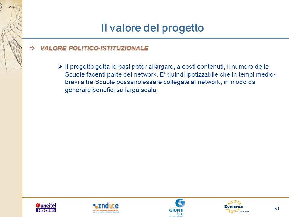 51 Il valore del progetto VALORE POLITICO-ISTITUZIONALE VALORE POLITICO-ISTITUZIONALE Il progetto getta le basi poter allargare, a costi contenuti, il