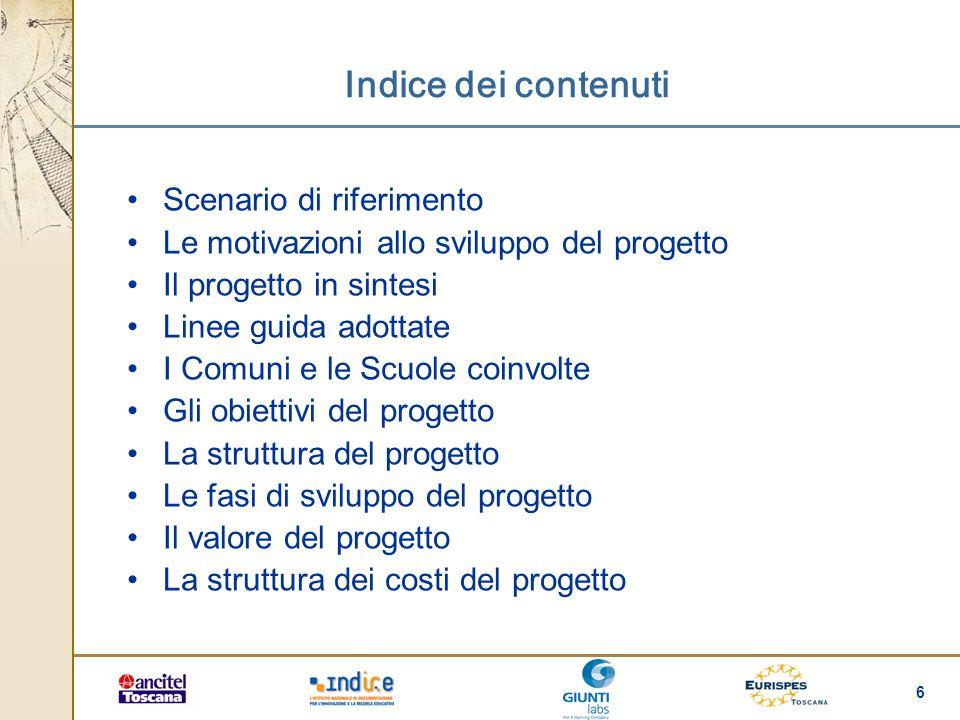 6 Indice dei contenuti Scenario di riferimento Le motivazioni allo sviluppo del progetto Il progetto in sintesi Linee guida adottate I Comuni e le Scu