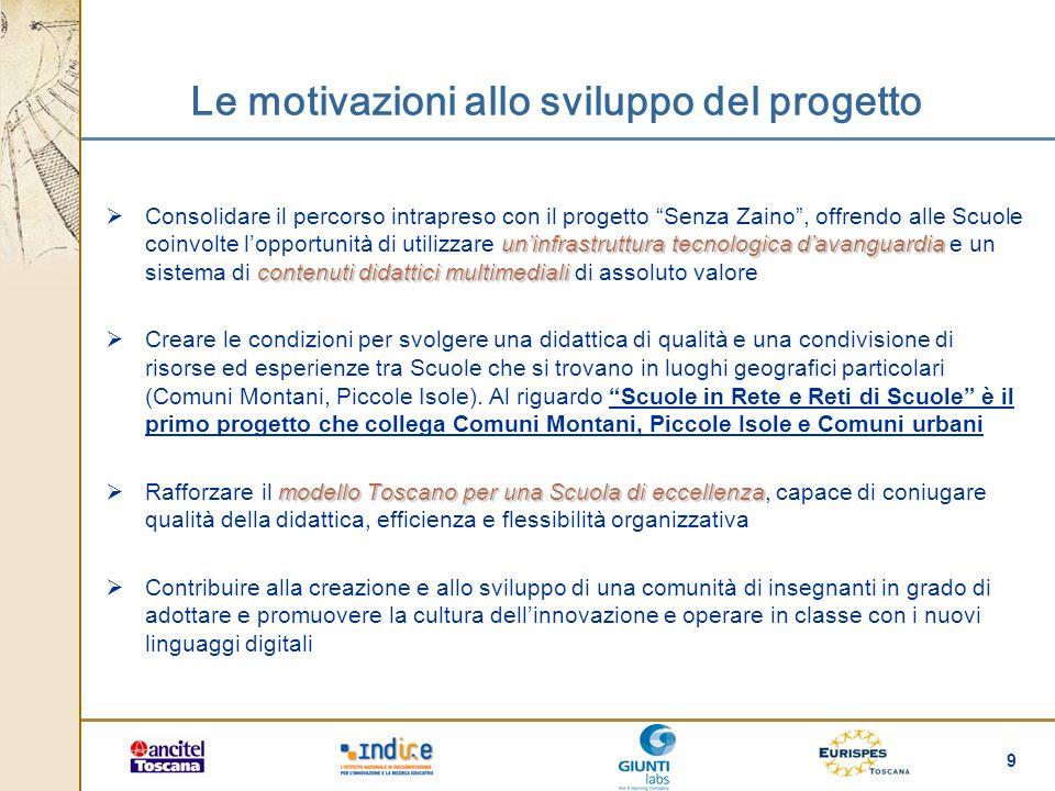 9 Le motivazioni allo sviluppo del progetto uninfrastruttura tecnologica davanguardia contenuti didattici multimediali Consolidare il percorso intrapr