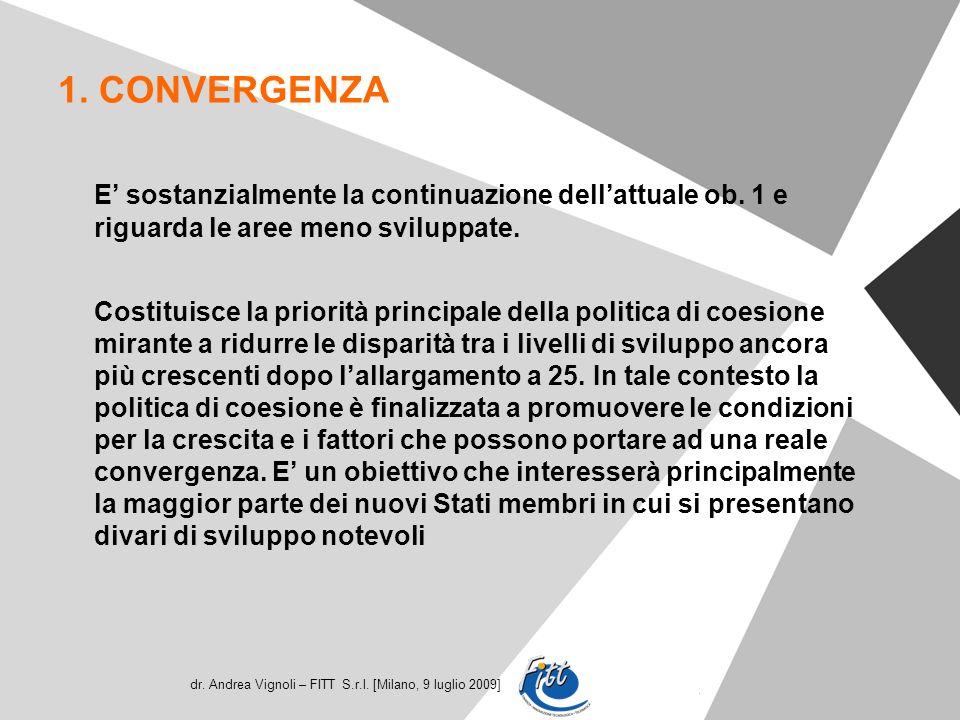 dr. Andrea Vignoli – FITT S.r.l. [Milano, 9 luglio 2009] 1. CONVERGENZA E sostanzialmente la continuazione dellattuale ob. 1 e riguarda le aree meno s