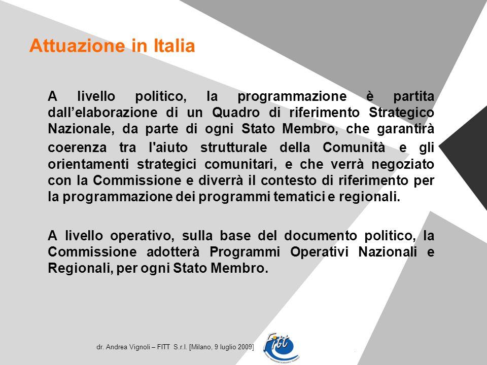 dr. Andrea Vignoli – FITT S.r.l. [Milano, 9 luglio 2009] Attuazione in Italia A livello politico, la programmazione è partita dallelaborazione di un Q