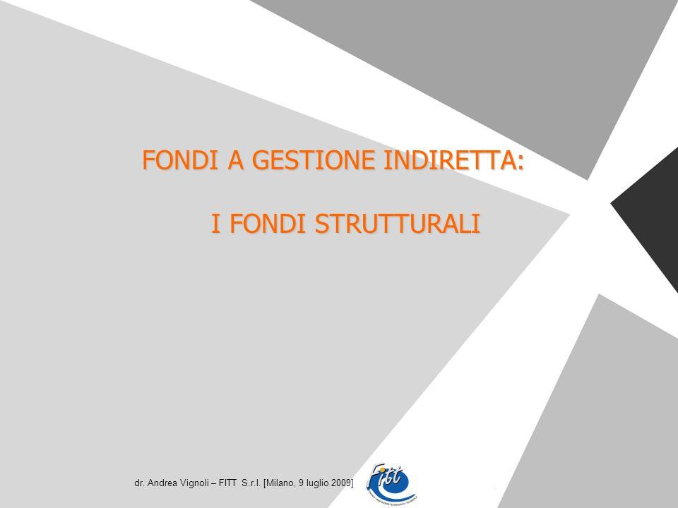 dr. Andrea Vignoli – FITT S.r.l. [Milano, 9 luglio 2009] FONDI A GESTIONE INDIRETTA: I FONDI STRUTTURALI