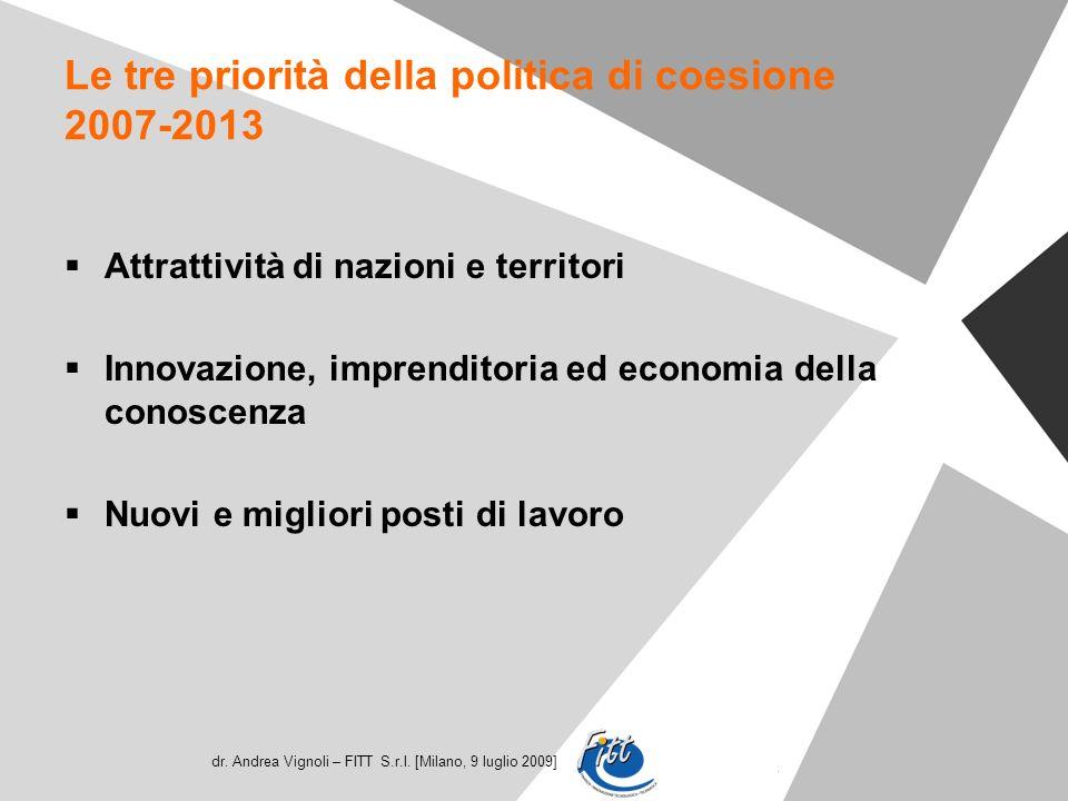 dr. Andrea Vignoli – FITT S.r.l. [Milano, 9 luglio 2009] Le tre priorità della politica di coesione 2007-2013 Attrattività di nazioni e territori Inno
