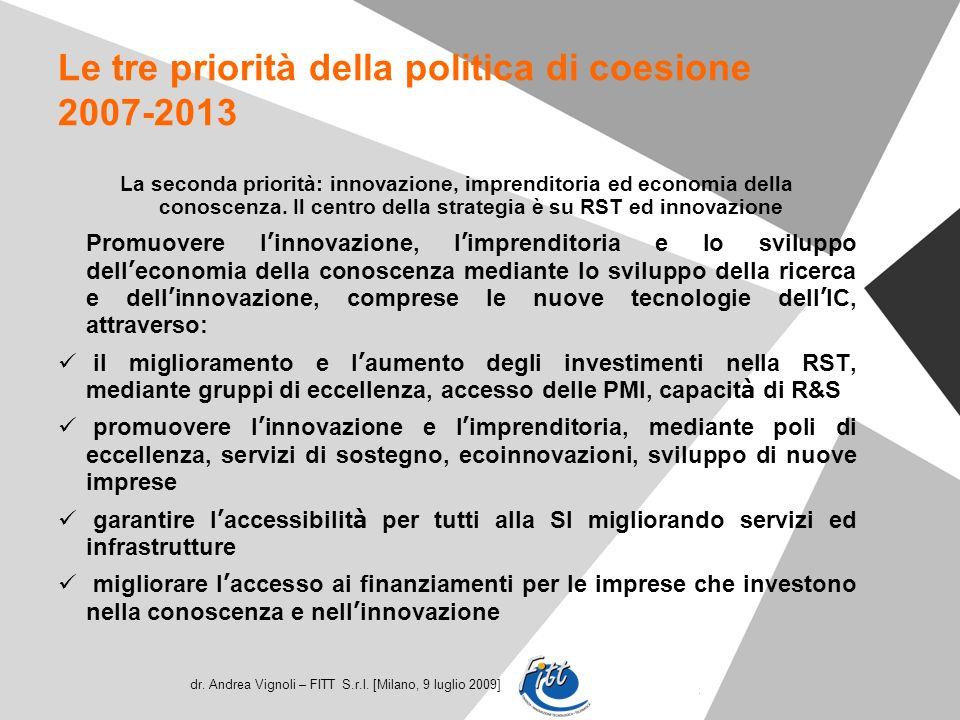 dr. Andrea Vignoli – FITT S.r.l. [Milano, 9 luglio 2009] Le tre priorità della politica di coesione 2007-2013 La seconda priorità: innovazione, impren