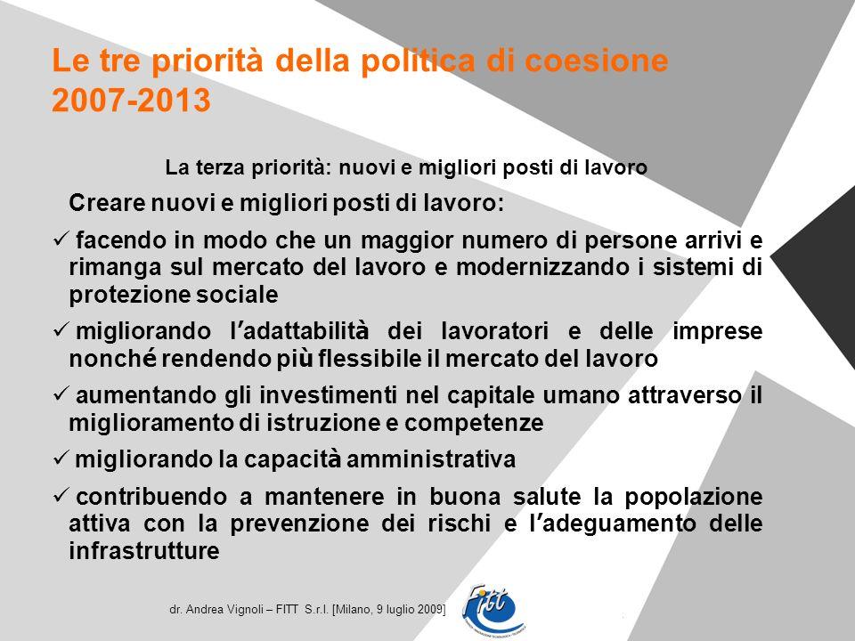 dr. Andrea Vignoli – FITT S.r.l. [Milano, 9 luglio 2009] Le tre priorità della politica di coesione 2007-2013 La terza priorità: nuovi e migliori post
