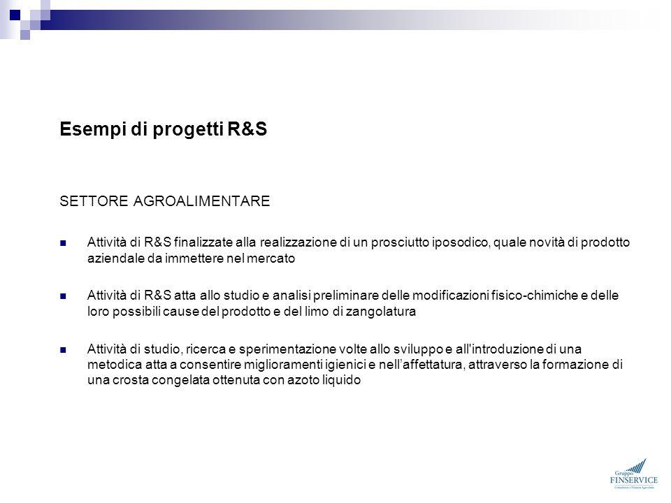Esempi di progetti R&S SETTORE AGROALIMENTARE Attività di R&S finalizzate alla realizzazione di un prosciutto iposodico, quale novità di prodotto azie