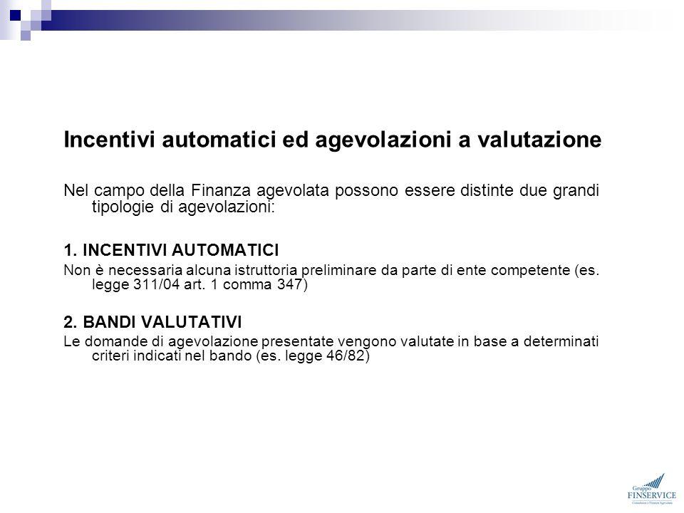 Incentivi automatici ed agevolazioni a valutazione Nel campo della Finanza agevolata possono essere distinte due grandi tipologie di agevolazioni: 1.