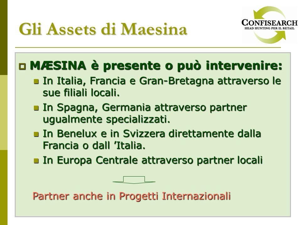 MÆSINA è presente o può intervenire: MÆSINA è presente o può intervenire: In Italia, Francia e Gran-Bretagna attraverso le sue filiali locali.