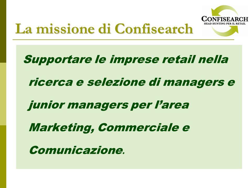 Supportare le imprese retail nella ricerca e selezione di managers e junior managers per larea Marketing, Commerciale e Comunicazione. La missione di