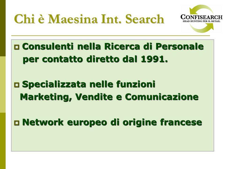 Chi è Maesina Int. Search Consulenti nella Ricerca di Personale Consulenti nella Ricerca di Personale per contatto diretto dal 1991. per contatto dire