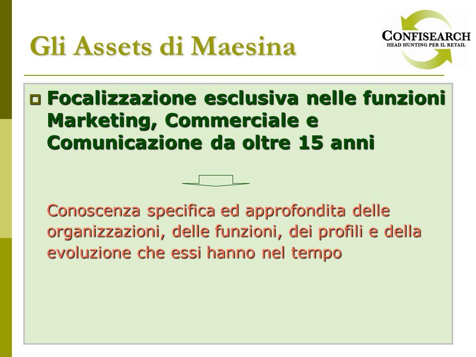 Gli Assets di Maesina Focalizzazione esclusiva nelle funzioni Marketing, Commerciale e Comunicazione da oltre 15 anni Focalizzazione esclusiva nelle f