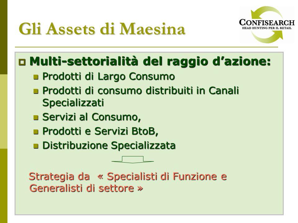 Gli Assets di Maesina Multi-settorialità del raggio dazione: Multi-settorialità del raggio dazione: Prodotti di Largo Consumo Prodotti di Largo Consum