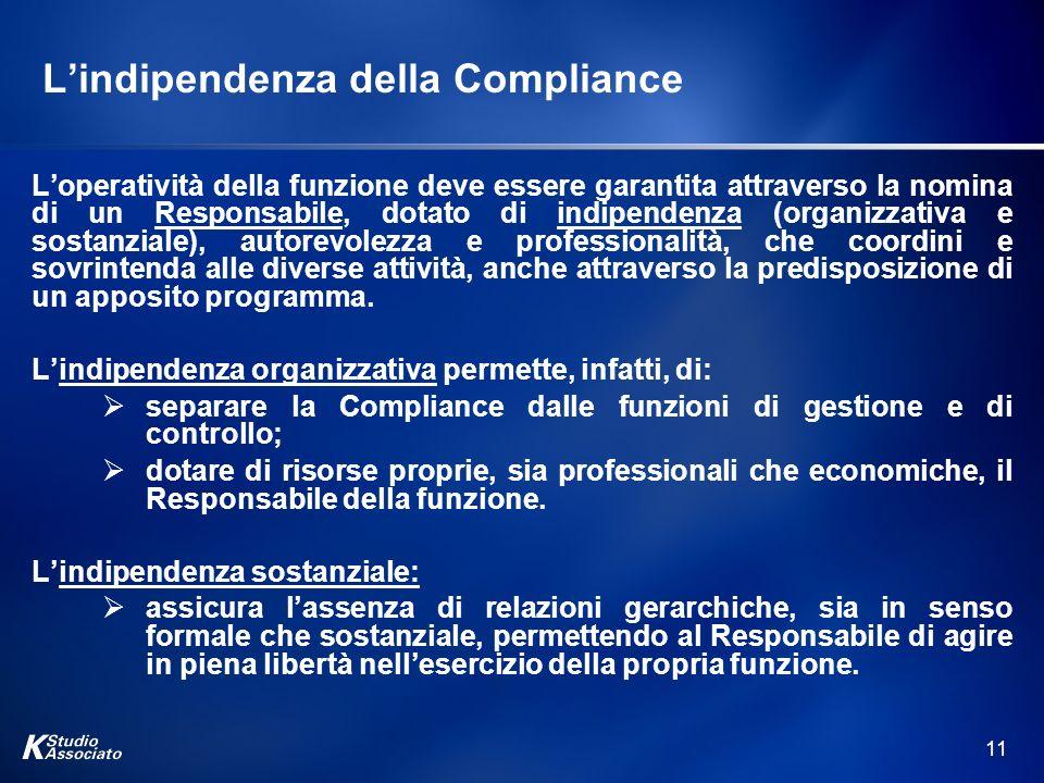 11 Lindipendenza della Compliance Loperatività della funzione deve essere garantita attraverso la nomina di un Responsabile, dotato di indipendenza (o