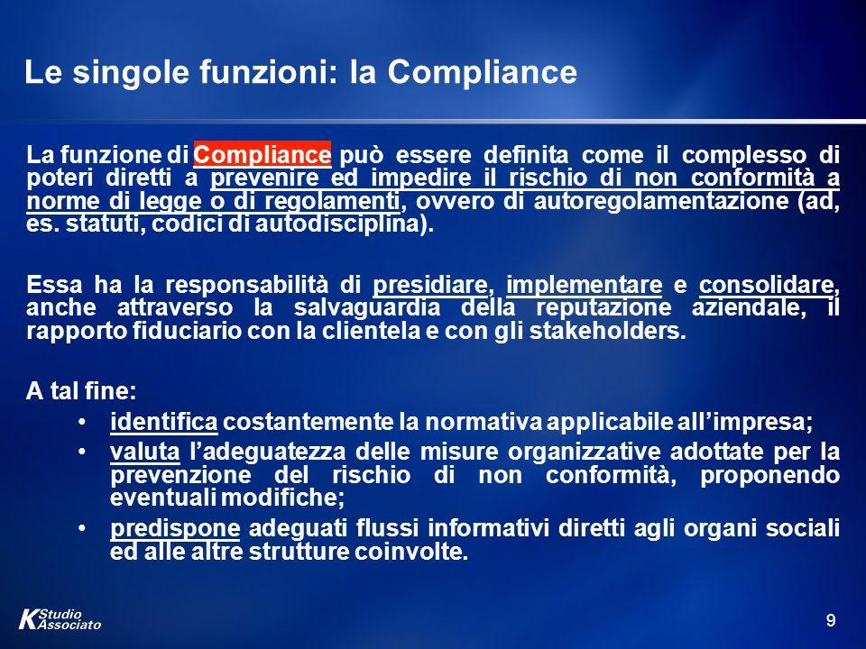 9 Le singole funzioni: la Compliance La funzione di può essere definita come il complesso di poteri diretti a prevenire ed impedire il rischio di non