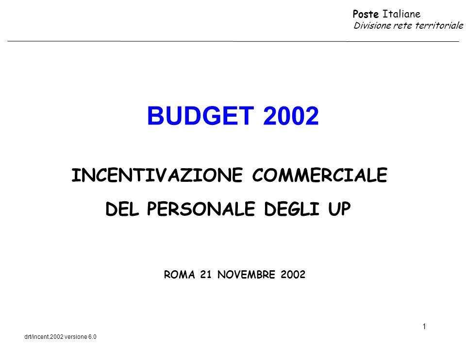 Poste Italiane Divisione rete territoriale drt/incent.2002 versione 6.0 12 DESTINATARI ACCESSO IL PERSONALE DEGLI UP APPLICATO O DI SUPPORTO AGLI SPORTELLI POSTALI ACCEDE AL PREMIO DI PRODOTTO AVVISO DI RICEVIMENTO PRIORITARIO LUFFICIO POSTALE CHE HA RAGGIUNTO O SUPERATO IL 100% DEL BUDGET COMMERCIALE RELATIVO AI PRODOTTI DI CORRISPONDENZA E PACCHI AL SUPERAMENTO DEL 100 % BUDGET COMMERCIALE ASSEGNATO ALLUP PER OGNI 50 EURO DI RICAVI INCREMENTALI RISPETTO AL BUDGET VEGONO RICONOSCIUTI CINQUE EURO DI PREMIO AGLI ADDETTI AGLI SPORTELLI POSTALI DELLUP DETERMINAZIONE DEL PREMIO INCENTIVAZIONE BUDGET COMMERCIALE CORRISPONDENZA