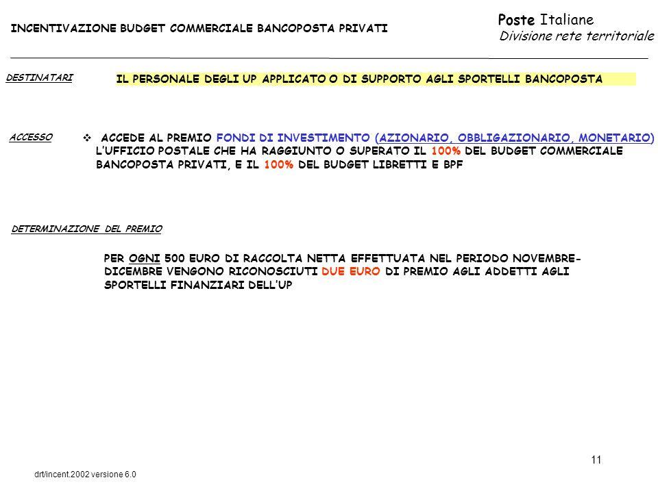 Poste Italiane Divisione rete territoriale drt/incent.2002 versione 6.0 11 DESTINATARI ACCESSO IL PERSONALE DEGLI UP APPLICATO O DI SUPPORTO AGLI SPOR