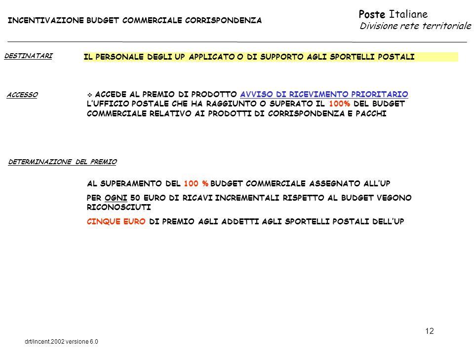 Poste Italiane Divisione rete territoriale drt/incent.2002 versione 6.0 12 DESTINATARI ACCESSO IL PERSONALE DEGLI UP APPLICATO O DI SUPPORTO AGLI SPOR