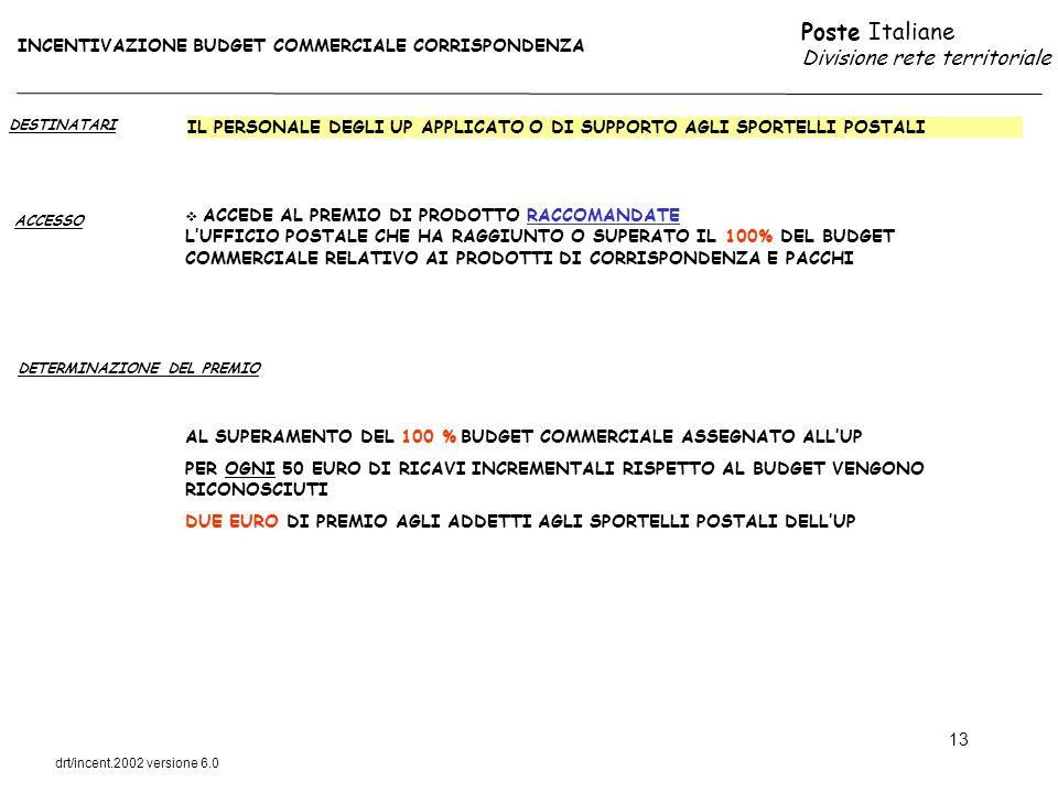 Poste Italiane Divisione rete territoriale drt/incent.2002 versione 6.0 13 DESTINATARI ACCESSO IL PERSONALE DEGLI UP APPLICATO O DI SUPPORTO AGLI SPOR