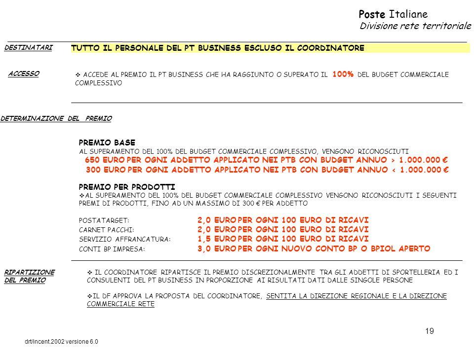 Poste Italiane Divisione rete territoriale drt/incent.2002 versione 6.0 19 DESTINATARI ACCESSO DETERMINAZIONE DEL PREMIO TUTTO IL PERSONALE DEL PT BUS
