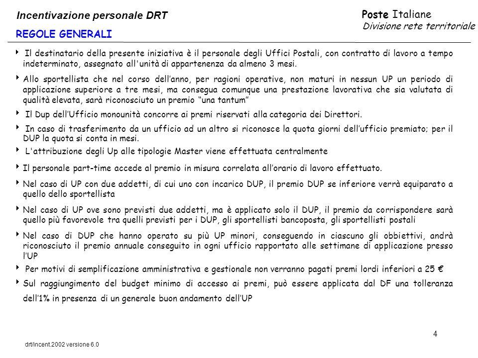 Poste Italiane Divisione rete territoriale drt/incent.2002 versione 6.0 4 REGOLE GENERALI Incentivazione personale DRT Il destinatario della presente