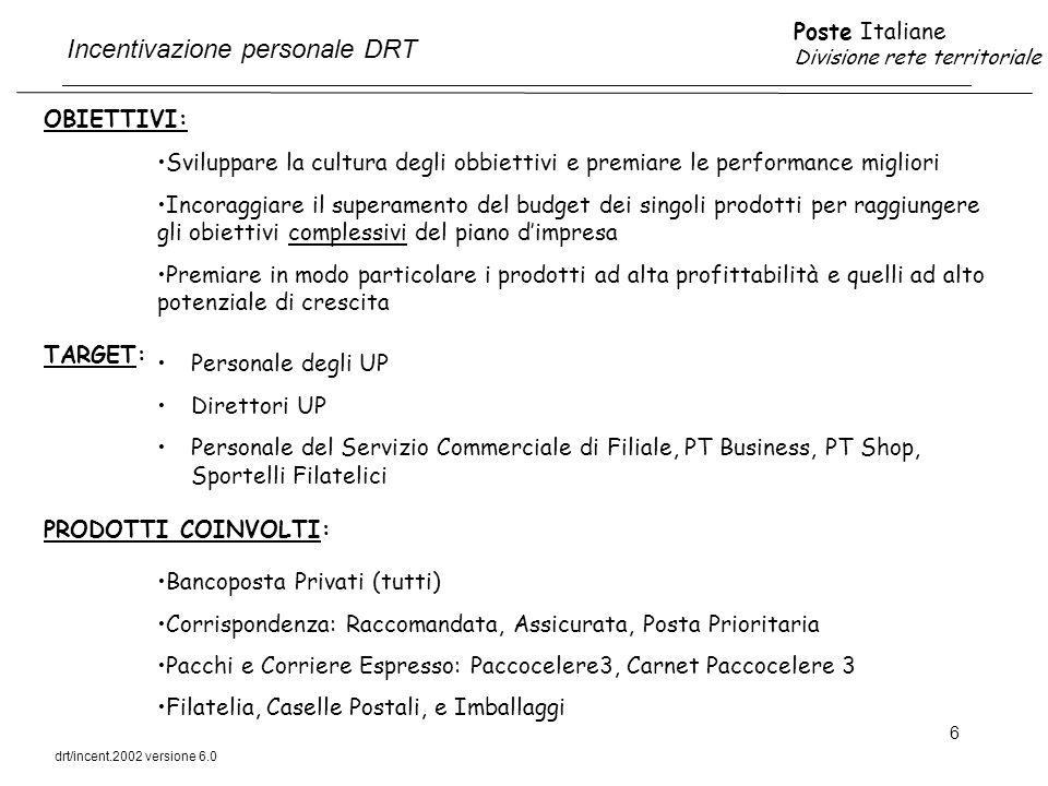 Poste Italiane Divisione rete territoriale drt/incent.2002 versione 6.0 17 DESTINATARI ACCESSO DETERMINAZIONE DEI PREMI TUTTO IL PERSONALE DEL SERVIZIO COMMERCIALE DI FILIALE COMPRESO IL CAPOSERVIZIO ACCEDE AL PREMIO LA FILIALE CHE HA RAGGIUNTO O SUPERATO IL 100% DEL BUDGET COMMERCIALE COMPLESSIVO ATTRIBUITO NEL 2002: BANCOPOSTA PRIVATI BANCOPOSTA ENTI E IMPRESE CORRISPONDENZA DELP FILATELIA PRODOTTI DRT (caselle, imballaggi, valori bollati, PT Shop, Piccoli Comuni) AL RAGGIUNGIMENTO O SUPERAMENTO DEL 100% DEL BUDGET COMMERCIALE VENGONO RICONOSCIUTI AL SERVIZIO COMMERCIALE DI FILIALE: UN PREMIO BASE PARI A 2000 EURO UN PREMIO VARIABILE PARI A 1,5 EURO PER OGNI 10.000 EURO DI RICAVI A BUDGET COMMERCIALE UN PREMIO PARI A 2000 EURO SE LA FILIALE HA RAGGIUNTO O SUPERATO ANCHE IL 100% DEL BUDGET RELATIVO AI PRODOTTI DRT: Caselle, Imballaggi, Valori Bollati, PT Shop (offerta base), Piccoli Comuni.