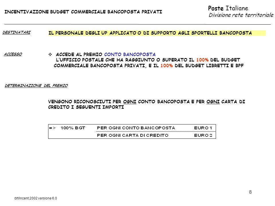 Poste Italiane Divisione rete territoriale drt/incent.2002 versione 6.0 9 DESTINATARI ACCESSO IL PERSONALE DEGLI UP APPLICATO O DI SUPPORTO AGLI SPORTELLI BANCOPOSTA AL SUPERAMENTO DEL 110 % BUDGET COMMERCIALE ASSEGNATO ALLUP PER OGNI 500 EURO AGGIUNTIVI DI COLLOCAMENTO RISPETTO AL BUDGET VENGONO RICONOSCIUTI DUE EURO DI PREMIO AGLI ADDETTI AGLI SPORTELLI FINANZIARI DELLUP DETERMINAZIONE DEL PREMIO INCENTIVAZIONE BUDGET COMMERCIALE BANCOPOSTA PRIVATI ACCEDE AL PREMIO OBBLIGAZIONI (DOPPIO CENTRO E A CAMPAGNA) LUFFICIO POSTALE CHE HA RAGGIUNTO O SUPERATO IL 100% DEL BUDGET COMMERCIALE BANCOPOSTA PRIVATI, E IL 100% DEL BUDGET LIBRETTI E BPF