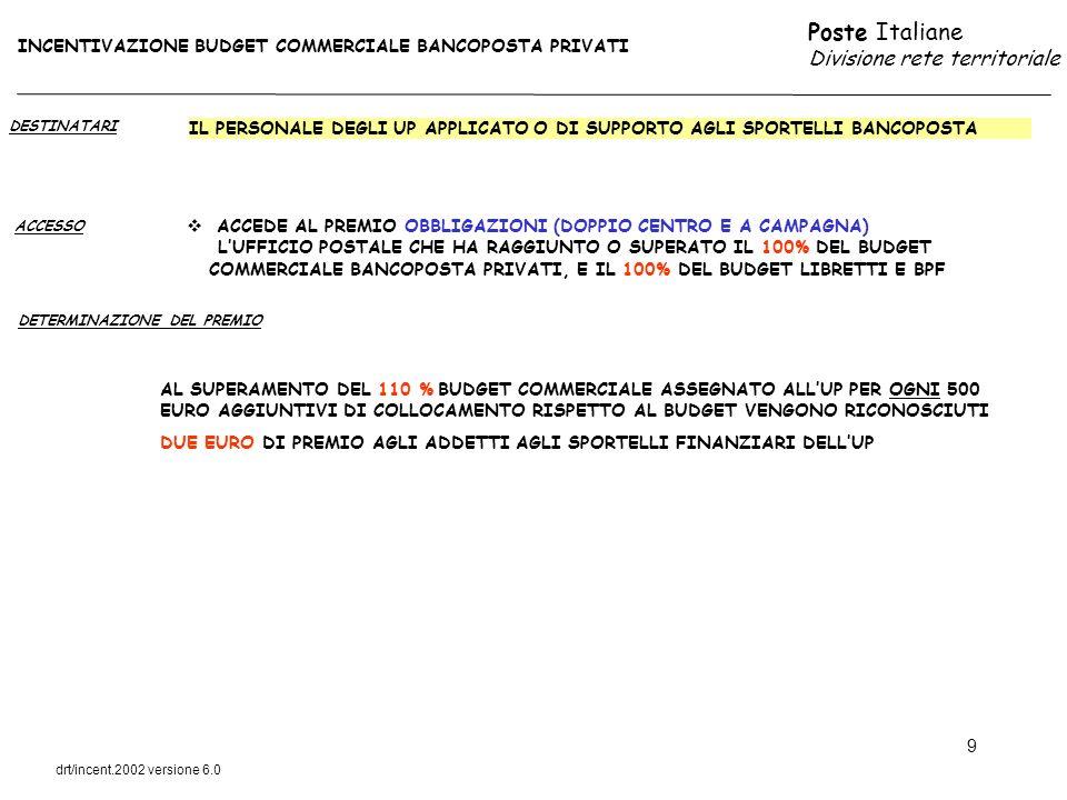 Poste Italiane Divisione rete territoriale drt/incent.2002 versione 6.0 9 DESTINATARI ACCESSO IL PERSONALE DEGLI UP APPLICATO O DI SUPPORTO AGLI SPORT