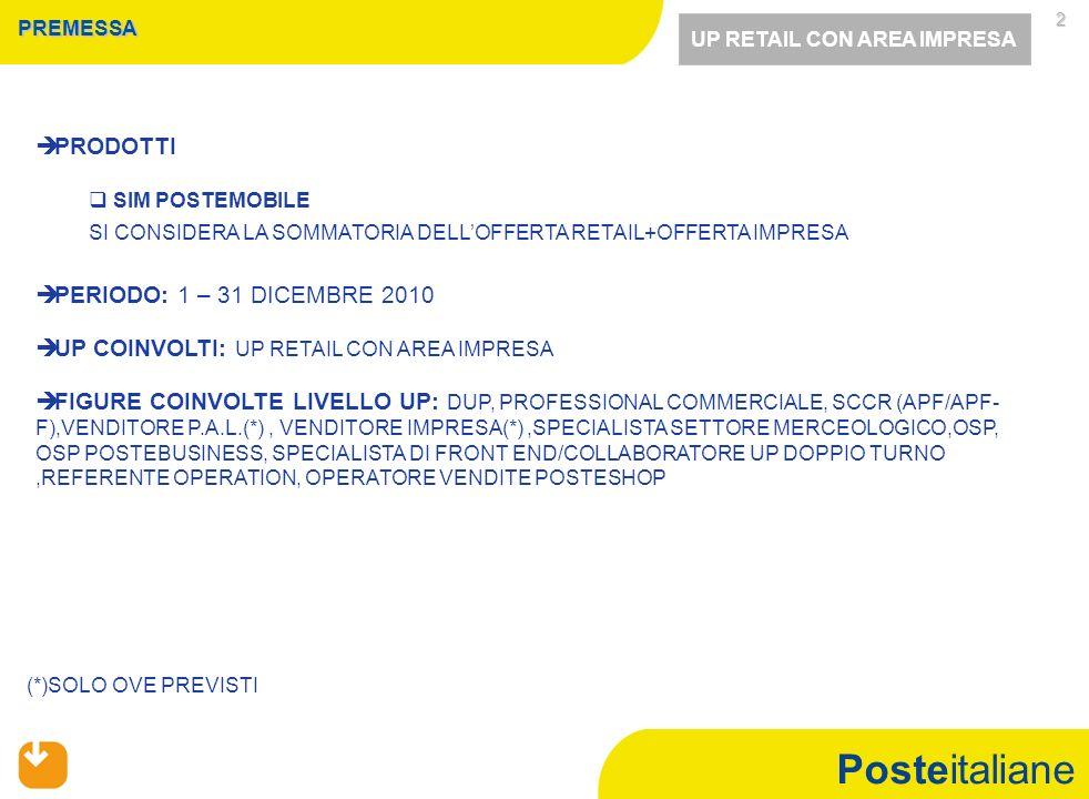 Posteitaliane 2 PREMESSA PRODOTTI SIM POSTEMOBILE SI CONSIDERA LA SOMMATORIA DELLOFFERTA RETAIL+OFFERTA IMPRESA PERIODO: 1 – 31 DICEMBRE 2010 UP COINVOLTI: UP RETAIL CON AREA IMPRESA FIGURE COINVOLTE LIVELLO UP: DUP, PROFESSIONAL COMMERCIALE, SCCR (APF/APF- F),VENDITORE P.A.L.(*), VENDITORE IMPRESA(*),SPECIALISTA SETTORE MERCEOLOGICO,OSP, OSP POSTEBUSINESS, SPECIALISTA DI FRONT END/COLLABORATORE UP DOPPIO TURNO,REFERENTE OPERATION, OPERATORE VENDITE POSTESHOP (*)SOLO OVE PREVISTI UP RETAIL CON AREA IMPRESA