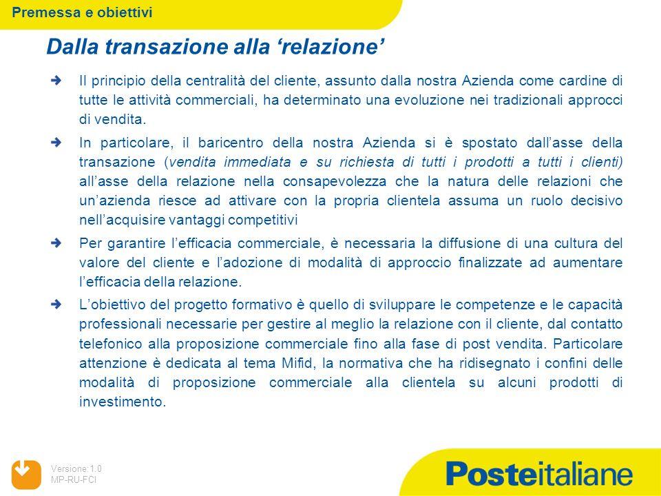 05/02/2014 Versione:1.0 MP-RU-FCI Premessa e obiettivi Il principio della centralità del cliente, assunto dalla nostra Azienda come cardine di tutte l