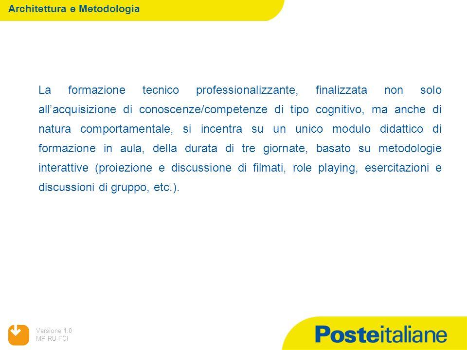 05/02/2014 Versione:1.0 MP-RU-FCI Architettura e Metodologia La formazione tecnico professionalizzante, finalizzata non solo allacquisizione di conosc